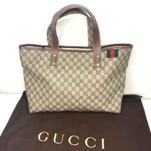 Authentic Gucci large tote coated monogram canvas